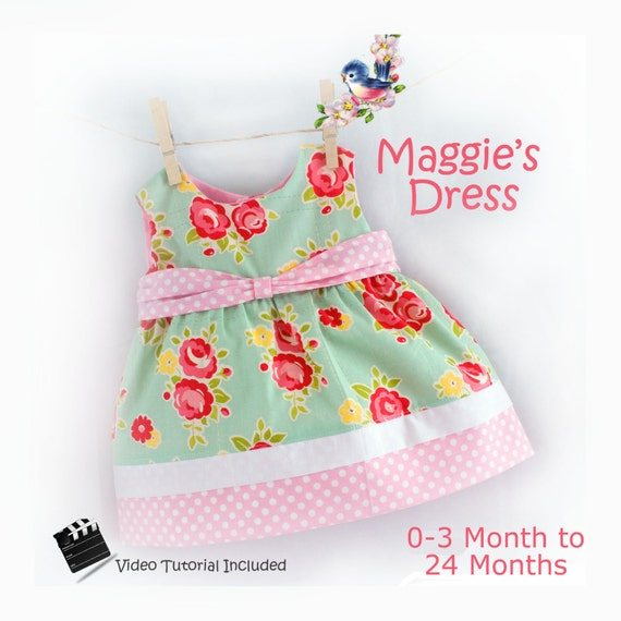 Instant Download PDF Sewing Pattern Baby Toddler Dress 0-3 m, 3, 6-9, 12, 18, 24 m  Beginner Easy Video Tutorial