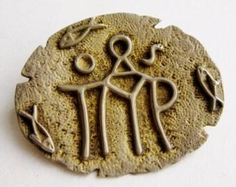 Vintage 800 Silver Gold Vermeil Petroglyph Brooch Pin
