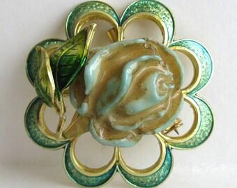 Vintage German Gold Tone & Green Enamel Figural Rose Brooch Pin