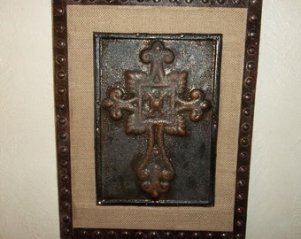 Cross Metal Tile Repurposed On Burlap/ WallHanging/Wall Decor /Rustic Decor  /Rustic
