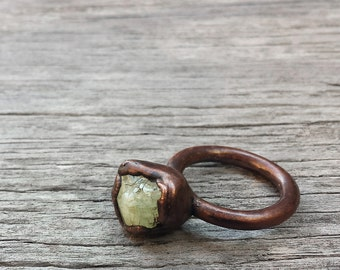 Aquamarine Copper Ring No. 001 // Electroformed Blue Birthstone Solitaire Stacking Ring  ( 7.5 )