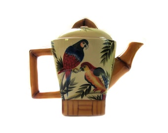 Pacific Rim Pottery Bamboo Parrot Teapot Tropical Island Motif