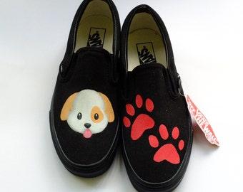 Puppy Paw Prints Emoji Dog and Paw Print Custom Vans Shoes