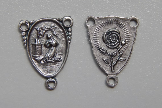 5 Rosary Center Piece Findings, St. Rita, Rose, Silver Color Oxidized Metal, Rosary Centers, Religious, Hardware, Made in Italy, RC506