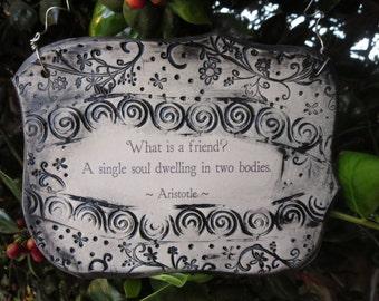 Wonderful Arisotle Quote Handmade Ceramic Plaque