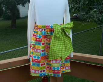 Buy Any 2 Skirts and Get 1 FREE, Sunny Sunglasses with Lime Green Bow Skirt, Size 2, 3, 4, 5, 6, 7, 8, 9, 10, and 12