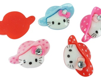 Resin Kitty Gem Hat Flatback Cabochon Applique Glue On Trim DIY Craft Scarpbooking 10 Pieces