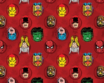 Red Marvel Avengers Characters Camelot Quilt Fabric by the 1/2 yard Hulk Thor Ironman