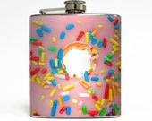 Donut Whiskey Flask Pink Icing with Sprinkles Birthday Cake Cupcake Funny Foodie Food Gift Stainless Steel 6 oz Liquor Hip Flask LC-1526