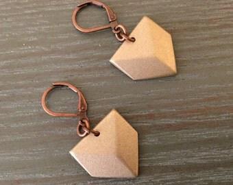 Vintage Brass Chevron Earrings