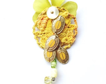 Lovely Crochet Yellow and Chartreuse Beaded Flower Upcycled Brooch