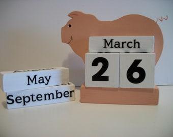Pig Calendar Perpetual Wood Block Peach Pig