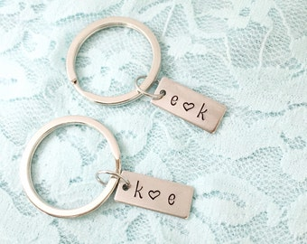 Set of two custom initial keychains. Great gift for a couple- hand stamped