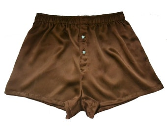 SIZE Large,La Lilouche LUX Brown Silk satin with Mint Green Heart buttons Boxers