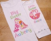 Big Sister Little Sister Shirt Set Pink, Aqua and Green Paisley Sister Sibling Shirt Set Coming Home Set