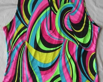 Cycling / Bike Jersey - Neon Color Swirls - Plus size 1X