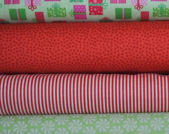Christmas Candy Green Presents 4 Fat Quarters Bundle by Doodlebug Designs Inc for Riley Blake, 1 yard total
