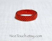 SUMMER SALE!!! Free Shipping or Save 20% ~ Ruby Red beaded peyote woven holiday beaded ring ~ Made to Order