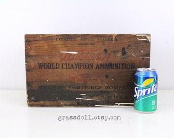 "15"" Vintage Western World Champion Ammunition Wood Box, Rustic Vintage Wood Crate"