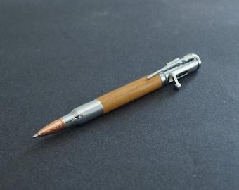 Bolt Action Bullet Pen, Hand Turned Caramel Bamboo Wood