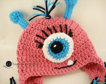 Handmade Crochet Baby girl monster hat with antennae and eyelashes, sizes 0 months to toddler size