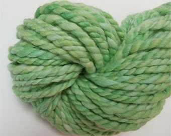 "Jumbo Super Bulky Handspun Yarn Alpaca and BFL Wool Hand Dyed 56 Yards Lime Green Knitting Supplies Doll Hair Crochet  "" Lucky  """