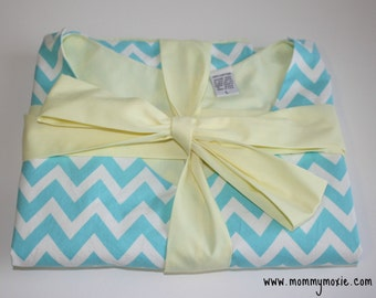 LINED Abby Maternity Delivery Gown - Light Blue and White Chevron - Lined in Your Choice of Color - By Mommy Moxie on Etsy