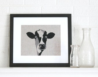 happy cow cross stitch pattern - diy - rustic, modern- pdf - instant download