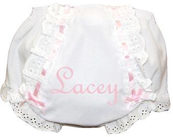 Personalized Lacy Baby Girl Diaper Cover, Bloomers Light Pink Embroidery & Ribbon
