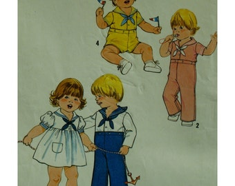 """Toddlers Sailor Suit Pattern, Dress, Romper, Jumpsuit, Button Front Waist and Crotch, Simplicity 8813 Size 1/2 and 1 (Chest 19-20"""" 48-51cm)"""