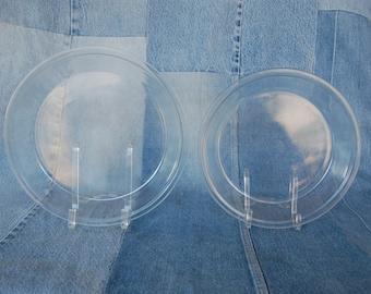 Set of 2 Vintage Pyrex Pie Plates Pyrex 209 and 210 Clear Pyrex Glass One 9 inch and One 10 inch Clear Glass Pie Plates