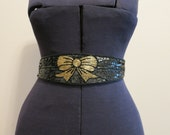 Belt black beaded satin with sequins gold bow S M