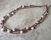 """Freshwater Pearl Brown Leather Knotted Necklace 3 Strand Round Pearls Casual Women's Jewelry 16"""" Boho"""