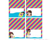 PRINTABLE Girl Pool Party Label Tents (Character of your choice) #5001