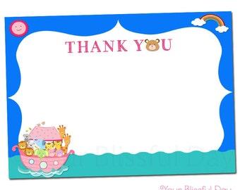 PRINTABLE Girl Noah's Ark Baby Shower Thank You Cards #212