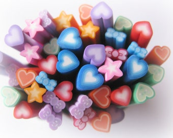 Bow Heart Star Cooked Clay Canes Nail Art Earring Supplies