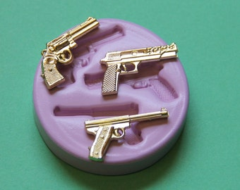 Gun Mold Silicone Rifle Mold Jewelry Finding Cupcake Topper Resin Fondant Polymer Clay Mould