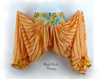 Striped Harem Pants, Semi-Sheer Cantaloupe and Tangerine, Upcycled Embellished, Size 26-30 Inch Waist