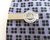 Salt Lake City Tie Clip, Tie Clasp, Tie Bar - Vintage Silver Transit Token / Coin