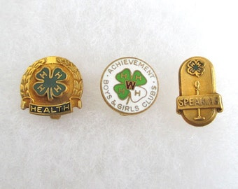 4H Gold Filled Lapel Pins - Vintage Health / Speaking / Achievement Awards