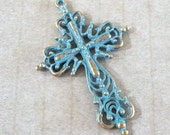 Cross Blue Patina over Gold Pewter Filagree Pendant
