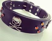 Skull Dog Collar, Halloween Dog Collar, Dog Collar Skulls, Handmade Leather Dog Collar, Leather Skull Dog Collar, Black Collar, Sugar Skull