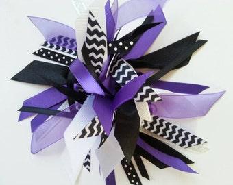 Gymnastics / Cheer /Sports Style Ribbon Ponytail Holder / Streamer  Purple, Black, and White