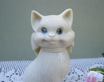 Avon Cat with Blue Rhinestone Eyes - Kitten Kitty Bottle - Oak Hill Vintage