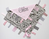 PERSONALIZED Baby Girl Damask Ribbon Tag Sensory Blanket with Pacifier Clip Large 16 x 16 Light Pink Minky