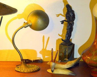 Vintage Gold Gooseneck ALADDIN Table Lamp with Ornate Cast Iron Base: Gilt Color Adjustable Directional Desk Light Fixture -- Works Fine!