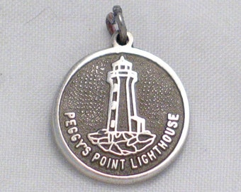 Nautical boaters Sterling silver Peggy's Point Lighthouse Medal medallion tag Nova Scotia Canada travel theme disc pendant bracelet charm