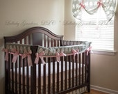 Girl Crib Bedding - Pink, Grey, and White with Elephants - 3 piece custom bumperless baby bedding