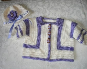 Lilac and Cream Girls Sweater Jacket and Hat