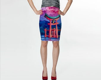 Designer Clothing - Japanese Temple Painting - Printed Pencil Skirt